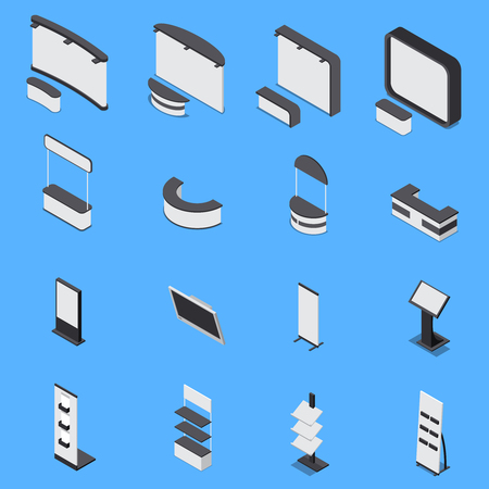 Isometric set of various exhibition stands and shelves isolated on blue background 3d vector illustration