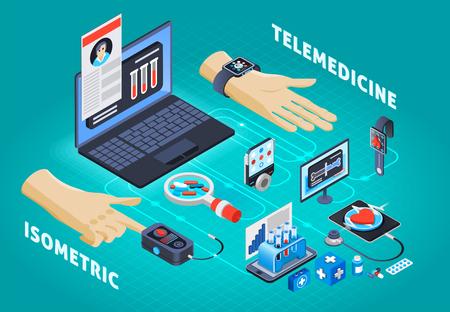 Cartel de composición isométrica de ofertas de la industria de salud digital con ilustración de vector de pruebas de control de presión arterial de frecuencia cardíaca de telemedicina