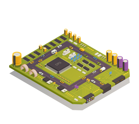 Semiconductor electronic components assembled on circuit board as city buildings streets traffic elements isometric composition vector illustration