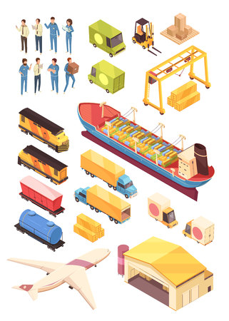 Isometric logistic delivery people set of isolated cargo vessels and vehicles with human characters and warehouse vector illustration