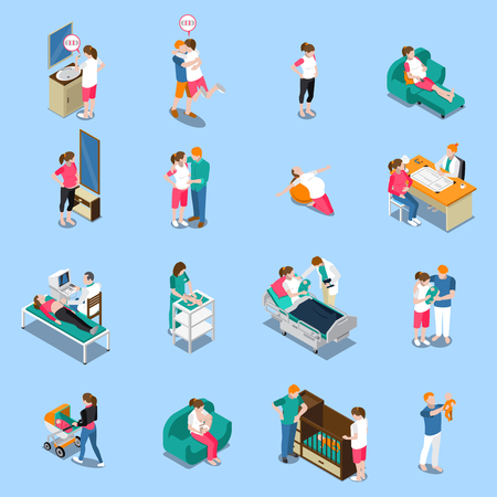 Pregnancy isometric icons isolated on blue background with medical examination, woman waiting baby, parents, newborn vector illustration