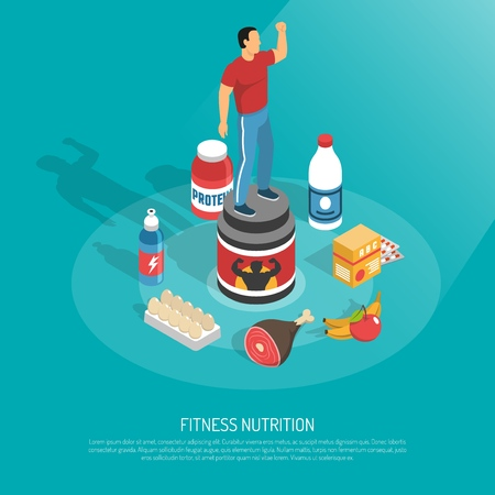 Fitness protein sources food supplements energizes drinks  healthy nutrition isometric background poster with exercising man vector illustration