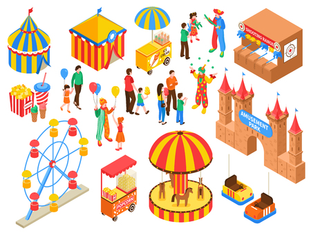 Amusement park isometric set with circus tent ice cream and popcorn carts clowns handing out air balloons isolated vector illustration