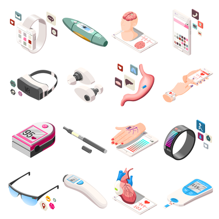 Portable electronics in medicine and life including vr headset, vape, fitness bracelet isometric icons isolated vector illustration   Ilustração