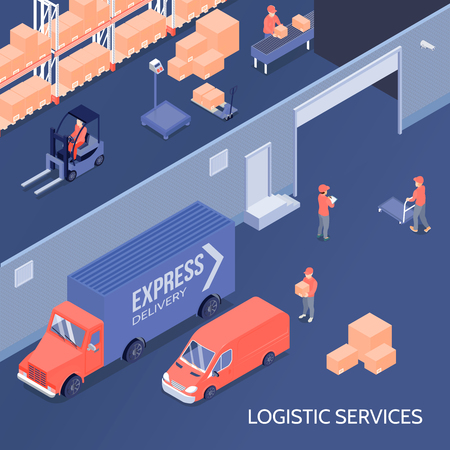 Logistic services including goods storage at warehouse, sorting center, shipment and delivery isometric vector illustration Stock Vector - 95258658