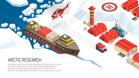 Arctic research polar station settlement isometric poster with icebreaker tracked vehicles snowmobiles helicopter landing helipad vector illustration