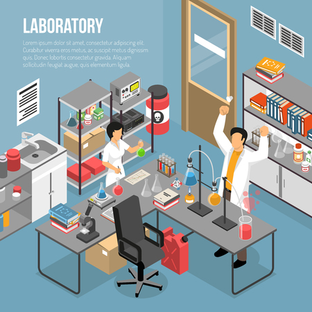 Isometric scientific laboratory background with editable text and research lab interior with furniture and human characters vector illustration Foto de archivo - 95258662