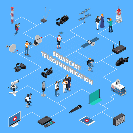 Broadcast equipment television team and signal repeaters telecommunication isometric flowchart on blue background.