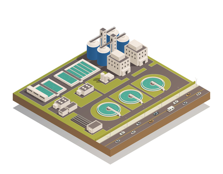 Wastewater sewage  and water cleaning purification treatment plant with pumping filtration separators and aerotanks facilities vector illustration  Ilustração