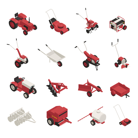 Garden farm machinery outdoor power equipment isometric icons collection with lawnmowers wheelbarrow brush cutters isolated vector illustration