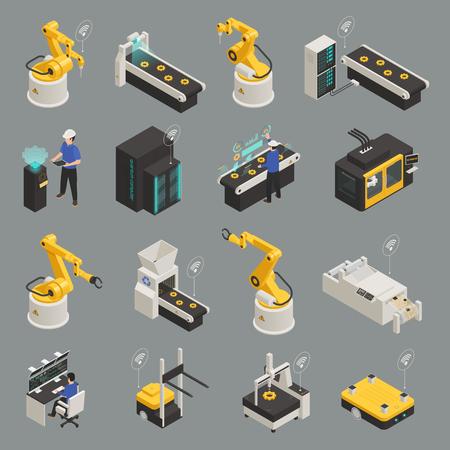 Las tecnologías de fabricación inteligente de la industria inteligente con impresión 3D, robots automatizados controlados a distancia, proyecciones holográficas, ilustración vectorial aislado