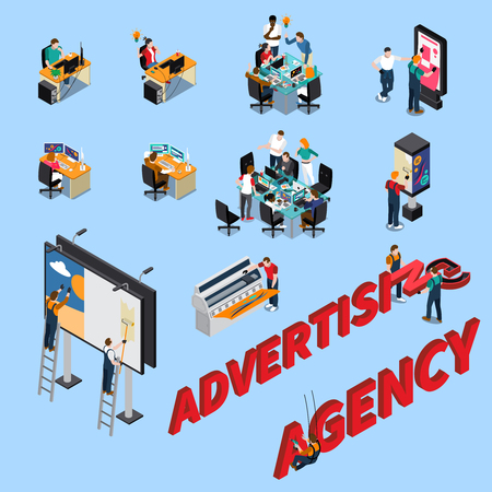 Advertising agency isometric people at workplaces, during brainstorming, pasting billboards isolated on blue background vector illustration