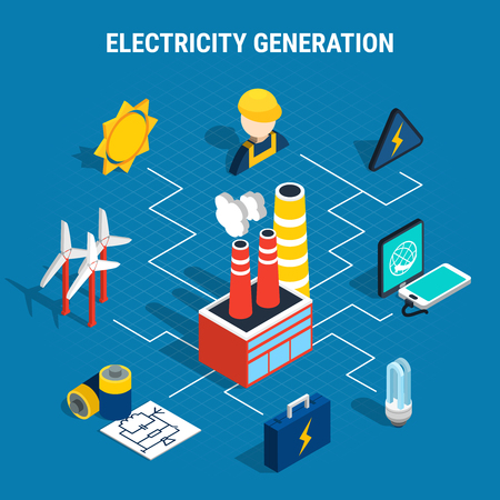 Colored isolated isometric electricity composition with electricity generation description and chart elements  Vectores