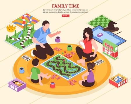Family pastime scene with parents and kids playing board games on floor isometric vector illustration