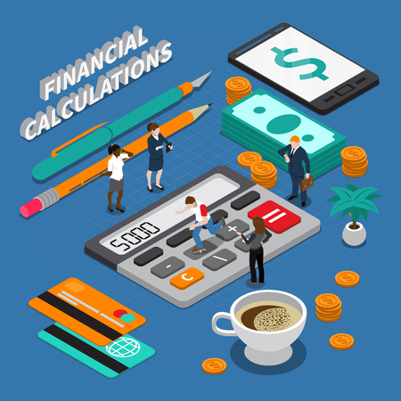 Isometric miniature concept with business people tools for financial calculations and money on blue background 3d vector illustration