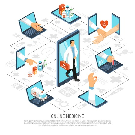 Online medical specialist consultations virtual doctor visit from home office on phone isometric background composition vector illustration