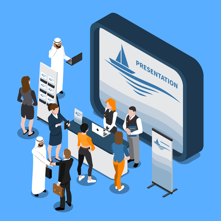 Exhibition stand with presentation on screen, business people, handout, banner isometric composition on blue background vector illustration
