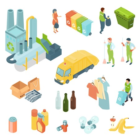 Garbage recycling set of isometric icons with waste processing plant, refuse truck, trash bins isolated vector illustration Çizim