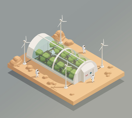 Space research experimental tunnel greenery facility for plant and trees cultivation isometric composition with astronauts vector illustration