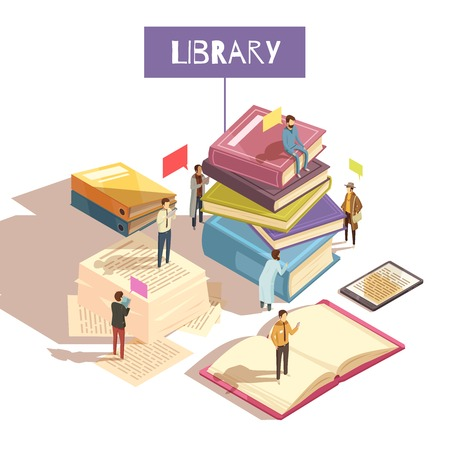 Library isometric vector illustration with mini figurines of communicating people sitting and standing on giant stacks of paper books