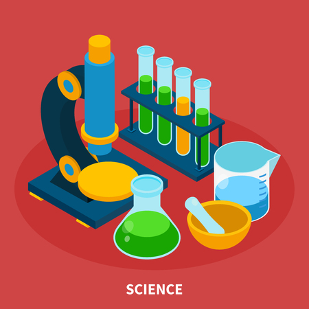 Science isometric composition with experiment symbols on red background vector illustration