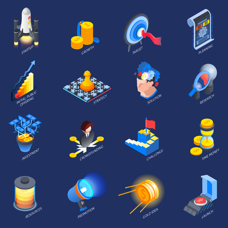 Startup launch concept isometric colorful icons collection with challenge investment strategy research planning  goals isolated vector illustration