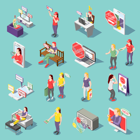 Annoying advertisement on tv, radio, in internet set of isometric icons isolated on turquoise background vector illustration Illustration