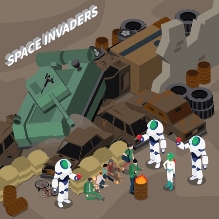 Alien invaders from outer space and homeless people isometric composition 3d vector illustration