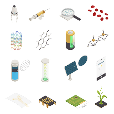 Nanotechnology nanoscience nanomedicine isometric symbols set with nanorobots injection computer chips and material synthesis isolated vector illustration