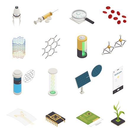 Nanotecnología nanociencia nanomedicina símbolos isométricos con chips de computadora de inyección de nanorobots y síntesis de material aislado ilustración vectorial
