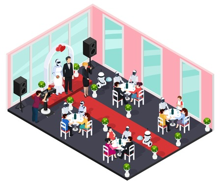 Human and robot wedding concept with technology and future symbols isometric vector illustration