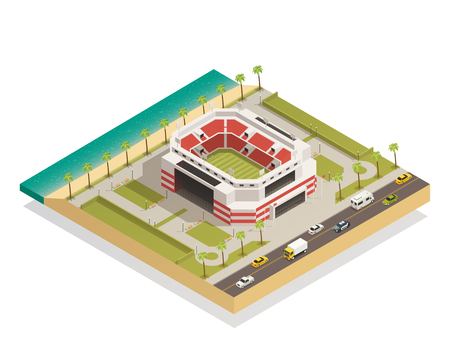 American football stadium field with goal lines isometric composition in coastal area with adjacent road vector illustration Illustration