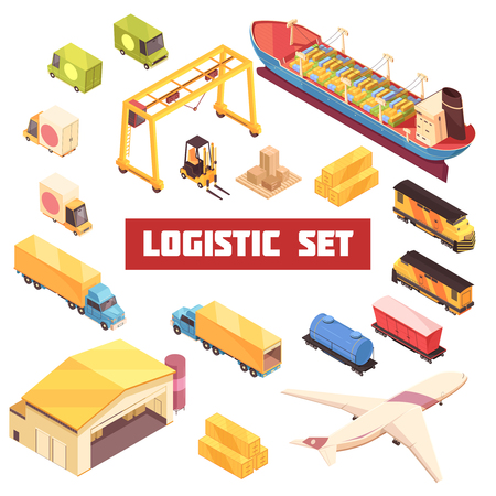 Logistics storehouse transportation industrial warehouse equipment isometric elements collection with trucks aircraft and cargo vessel vector illustration Çizim