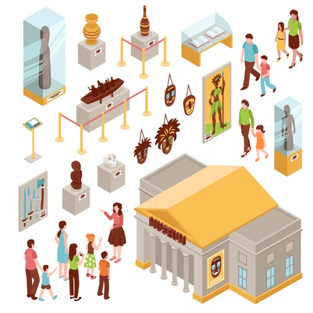 Museum set of isometric icons with building outside, showcases with exposition, visitors at excursion isolated vector illustration Иллюстрация