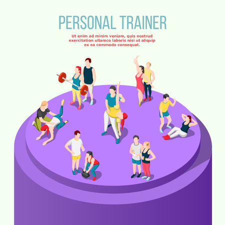 Personal sport trainer isometric composition with group of  instructor and their male and female adult pupils vector illustration