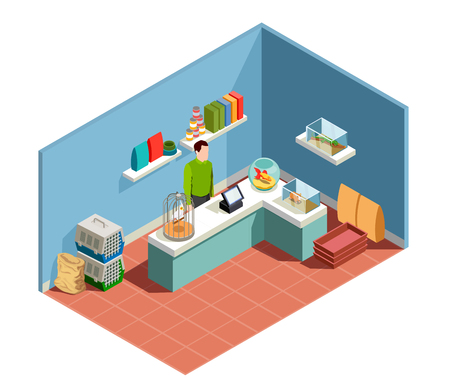 Pet shop isometric composition with goods for pet seller behind counter parrot in cage goldfish in aquarium vector illustration