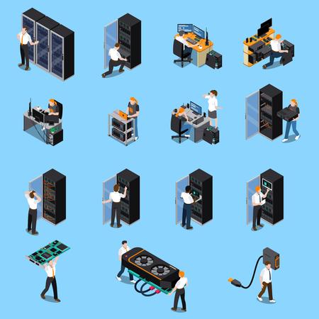 ingénieur technologie ingénieur et système administrateur personnes pour travailler icônes isométriques ensemble isolé sur fond bleu 3d illustration vectorielle