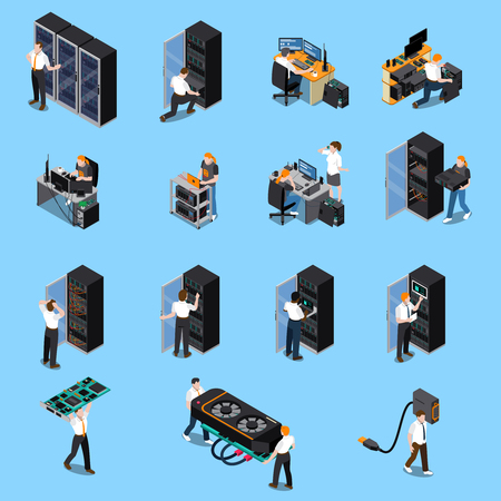 Information technology engineer and system administrator people at work isometric icons set isolated on blue background 3d vector illustration