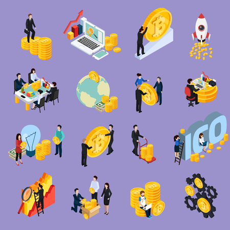 ICO blockchain concept isometric icons with cryptocurrency, research, investment, startup, profit isolated on lilac background vector illustration