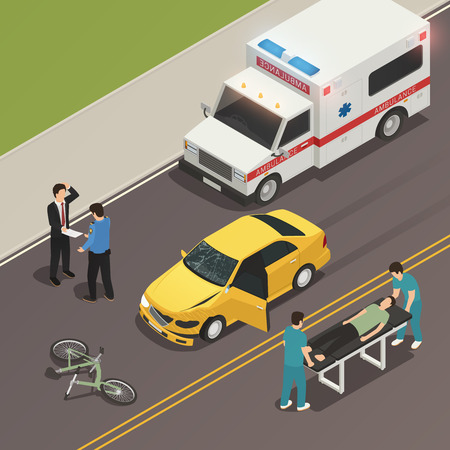 Traffic accident scene of car collision with bicycle isometric composition with drivers involved and ambulance vector illustration Ilustração