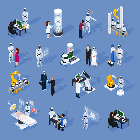 Artificial intelligence icons set with technology symbols isometric isolated vector illustration