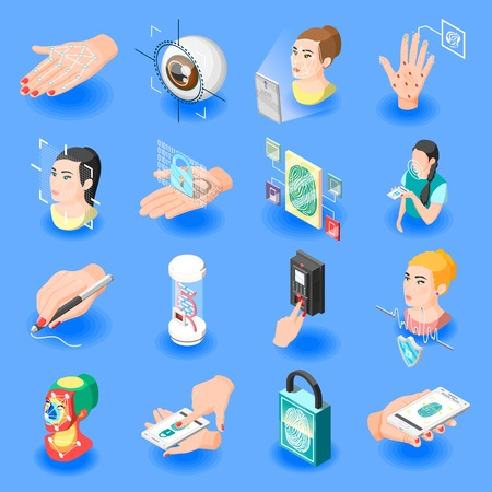 Biometric ID isometric icons set of face recognition identification by eye iris fingerprint unlock isolated vector illustration  Illustration