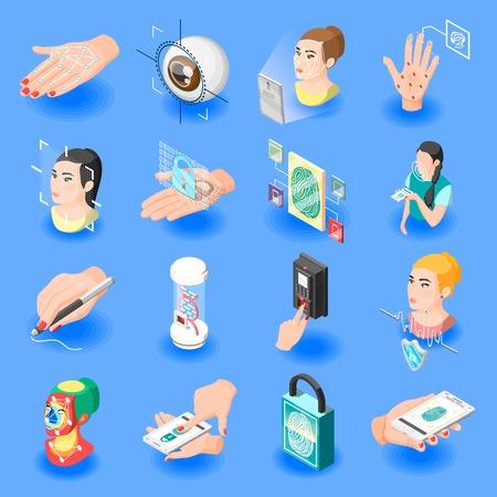 Biometric ID isometric icons set of face recognition identification by eye iris fingerprint unlock isolated vector illustration  Vettoriali