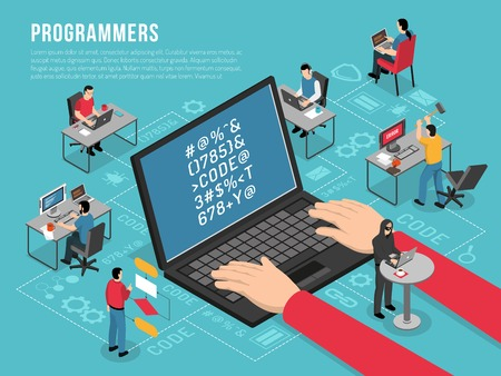 Computer programmers work Isometric conceptual composition poster with software developer code sample on laptop screen vector illustration