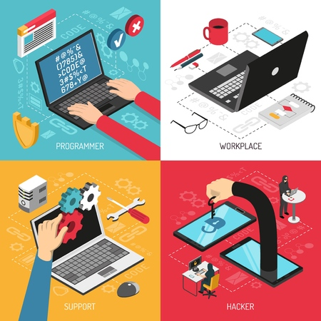 Programmer work 4 isometric icons concept square with typing code laptop screen office accessories isolated vector illustration