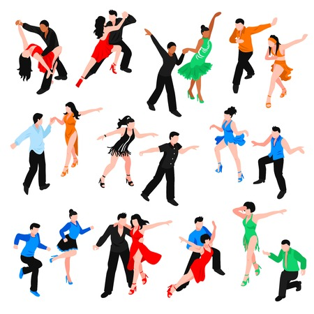 Set of isometric people in bright costumes during latin dances salsa, rumba, samba isolated vector illustration