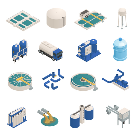 Water purification technology elements isometric icons collection with wastewater cleaning filtration and pumping units isolated vector illustration  Vectores