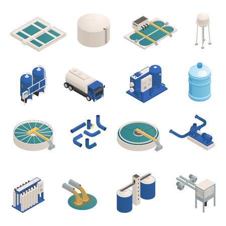 Kolekcja ikon izometrycznych elementów technologii oczyszczania wody z filtracją oczyszczania ścieków i jednostkami pompującymi na białym tle ilustracji wektorowych