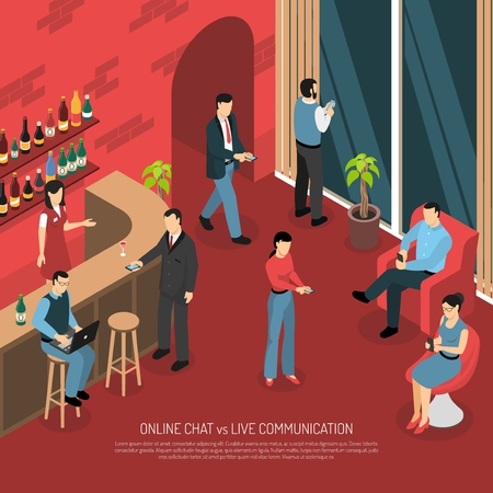 Online mobile chatting in bar cafe restaurant vs talking in real life isometric composition poster vector illustration