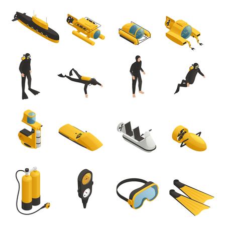 Unterwasserwerkzeugzubehörfahrzeuge einschließlich Unterwasser-bathyscaphe und isometrische Ikonensammlung der Taucherausrüstung lokalisierten Vektorillustration